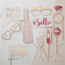 Rose Gold Team Bride Straws Hen Party Glasses Bride Badges Bride to Be Photo Props Bachelor Party Decoration qq164(China)