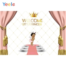Pink Curtain Golden Crown Backdrop Newborn Baby Shower Princess Birthday Party Photography Background Photo Studio Photophone цена в Москве и Питере