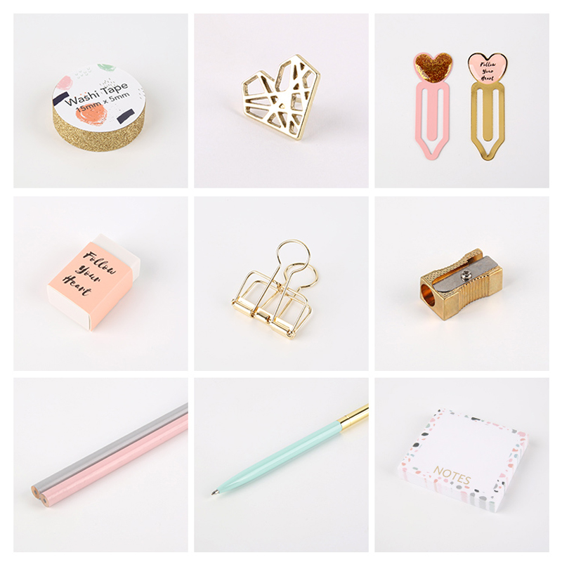 Купить с кэшбэком Pink Series Stationery Set Band Clips Memo Pad Pencil Bookmark Office Accessories Gift Box Packing School Stationery Sets