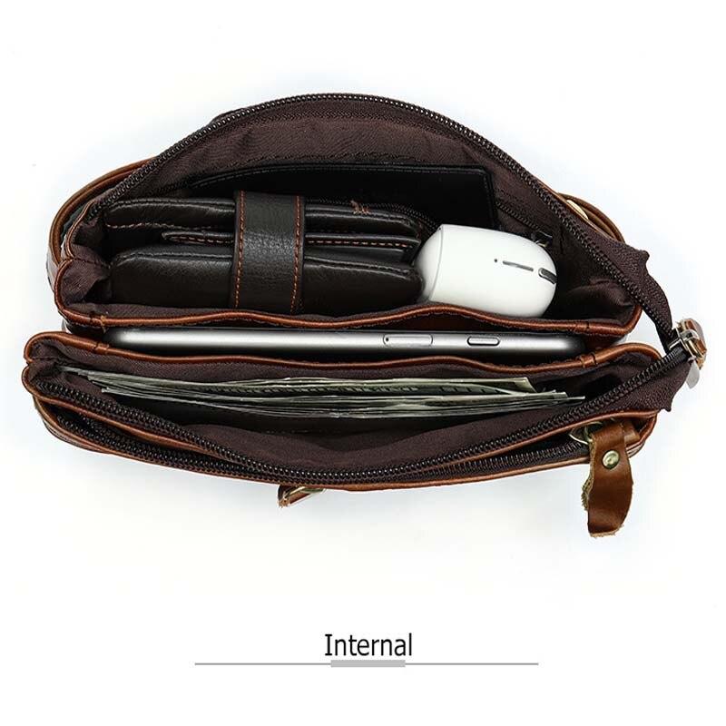 Bandolera para hombre, marrón oscuro, bolso de pecho diario, de alta calidad, de gran capacidad, bolso de hombro de cuero dividido para iPad nuevo - 6