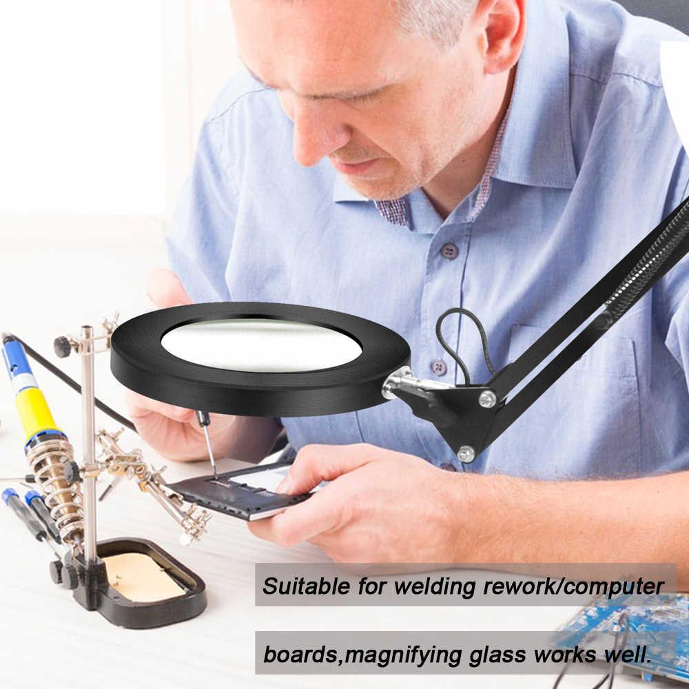 NEWACALOX, plegable, USB 5X, lupa de 3 colores con iluminación LED, abrazadera de mesa, lupa de soldadura de lectura, herramienta de tercera mano