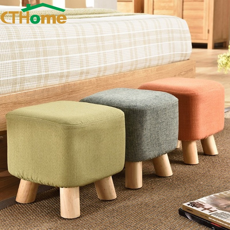 CTHome Fabrics Round Stool Solid Wooden Home Adult Children Sofa Small Low Chair Ottomans Modern Fashion Change Shoes Bench Gift