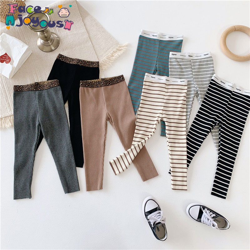 2019 Hot Sale Lovely Striped Solid Color And Cotton Material Girls Pants Autumn New Arrival Baby Girls Outwear Leggings