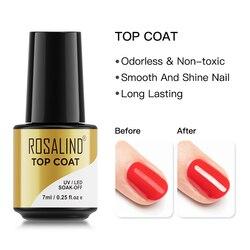 ROSALIND Gel Polish Top Coat UV Lamp Gel Soak Off Reinforce 7ml Long Lasting Nails Art Manicure Gel Lak Varnishes Primer
