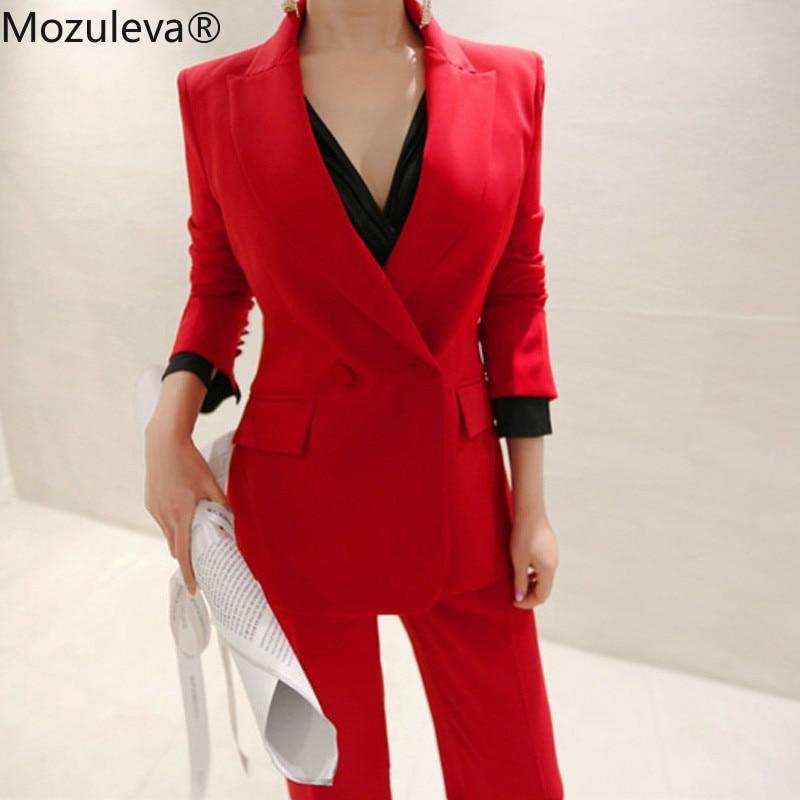 Mozuleva Fashion Red Women Pant Suits Slim Blazer Jacket & Ankle-length Pants Sexy Female Blazer Suits Set 2 Pieces Set Autumn