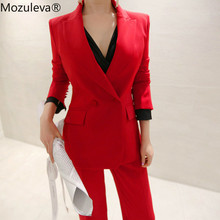 Mozuleva Fashion Red Women Pant Suits Slim Blazer Jacket & A