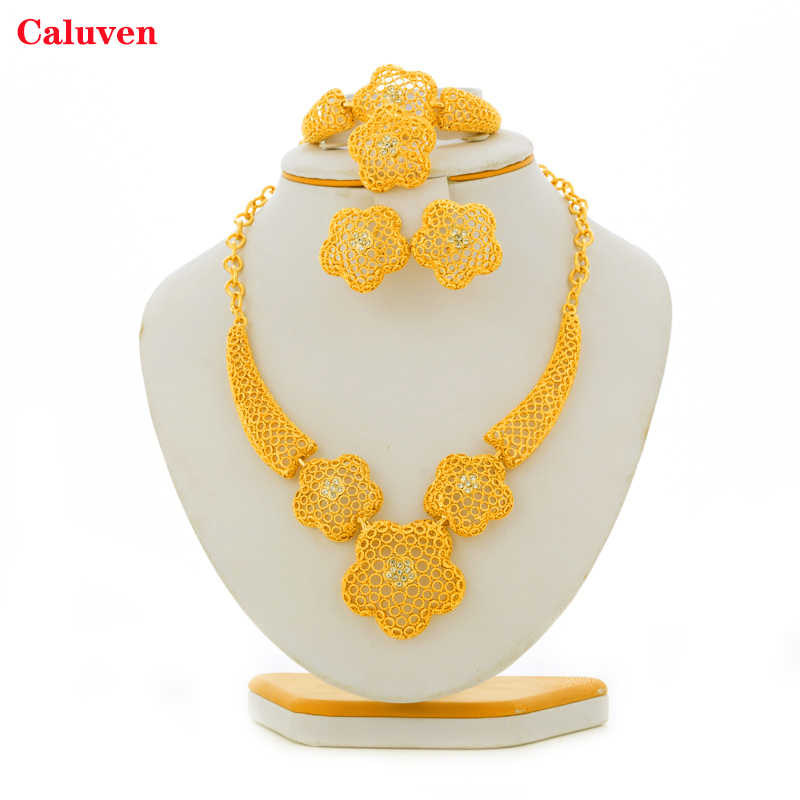 Gold Color Ethiopian African Dubai Jewelry Sets Eritrea Habesha Sudan Necklace sets Bride Wedding Jewelry for Women