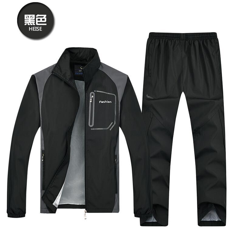 LS238 Fashion Spring Autumn Men Sporting Suit+Pant Sweatsuit Two Piece Set Tracksuit Set For Men Clothing size L-5XL