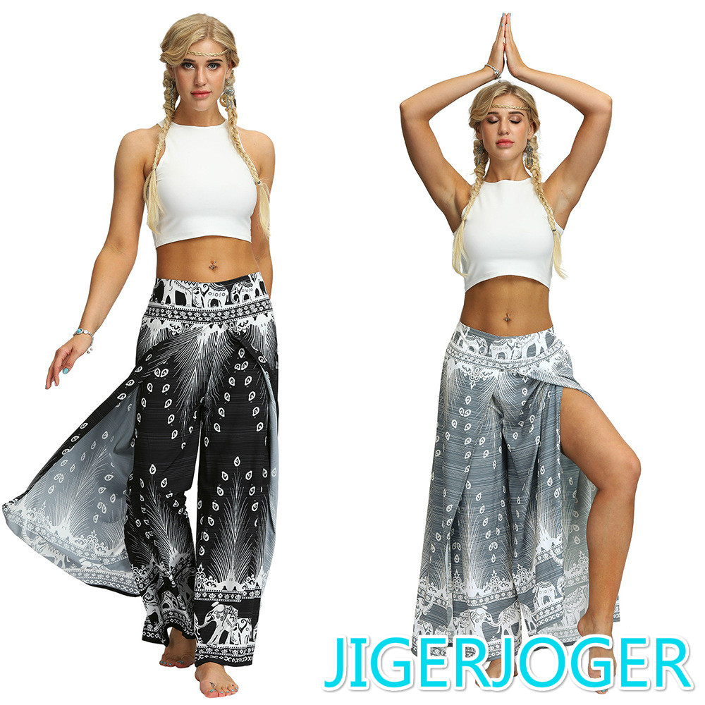 JIGERJOGER Side Open PALAZZO PANT Black Peacock Feather Elephant Bohemia Thailand Printed Women's Beach Pant Free Drop Shipping