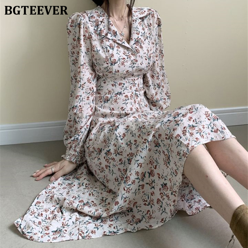 BGTEEVER Spring Turn-down Collar Floral Print Women Dress 2020 Full Sleeve Lace-up Waist Mid-calf Dress Female Vestidos Femme