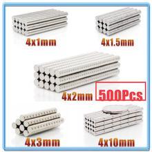 цена 500Pcs Mini Small N35 Round Magnet 4x1 4x1.5 4x2 4x3 4x10 mm Neodymium Magnet Permanent NdFeB Super Strong Powerful Magnets 4*2 онлайн в 2017 году