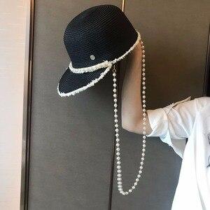 Модная летняя соломенная шляпа с жемчужной цепочкой, женская пляжная шляпа от солнца