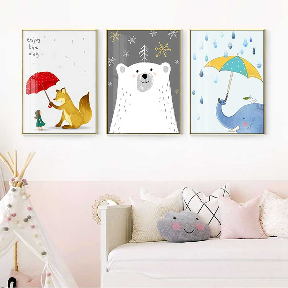 Minimalist Cartoon Animal Nordic Decoration Home Canvas Art Canvas Painting Kids Wall Pictures Laminas Decorativas Pared Cuadros
