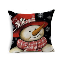 Pillowcases Printed Snowman With Hat Merry Christmas Cotton Throw Hugging Pillow Case Sofa Cushion Cover For New Year 45X45 Cm(China)