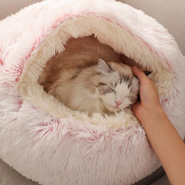 Pet Dog Cat Round Plush Bed Cat Self Warming Cat Nest House Soft Long Plush Bed Pet Comfort Sleeping Cushion Basket Soft Kennel 4