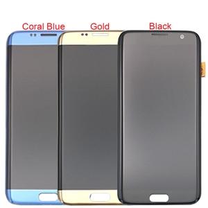 Image 5 - Siyah altın süper AMOLED için 5.5 yedek SAMSUNG Galaxy S7 kenar G935 G935F LCD ekran Digitizer meclisi ile çerçeve
