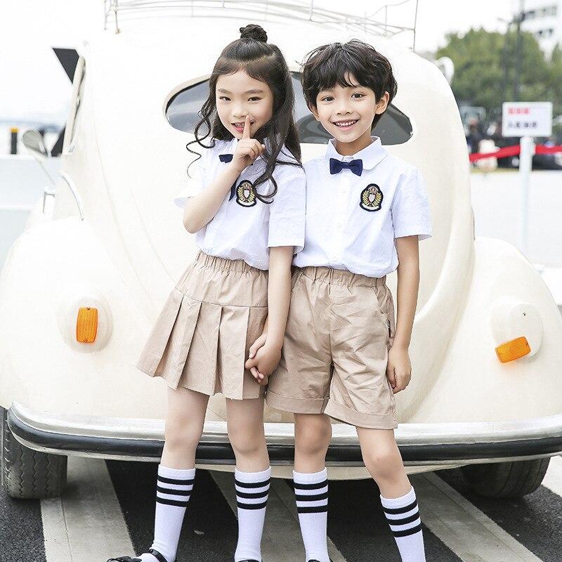 Ann Fruit Primary School Uniform Summer Wear New Style White Shirt Kaki Skirt Set British Style Kindergarten School Uniform Cust