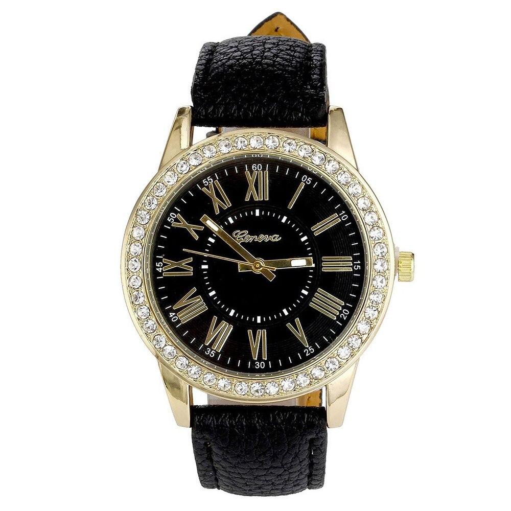 2020 New Women's Watches Ladies Wrist Watches Leather Band Quartz Plated Classic Round Watch Women Crystals Watch Zegarek Damski