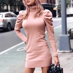 Image 1 - Simplee Turtle neck bodycon winter knitted women dress Puff shoulder pink sweater dress female Sexy ladies solid autumn vestidos