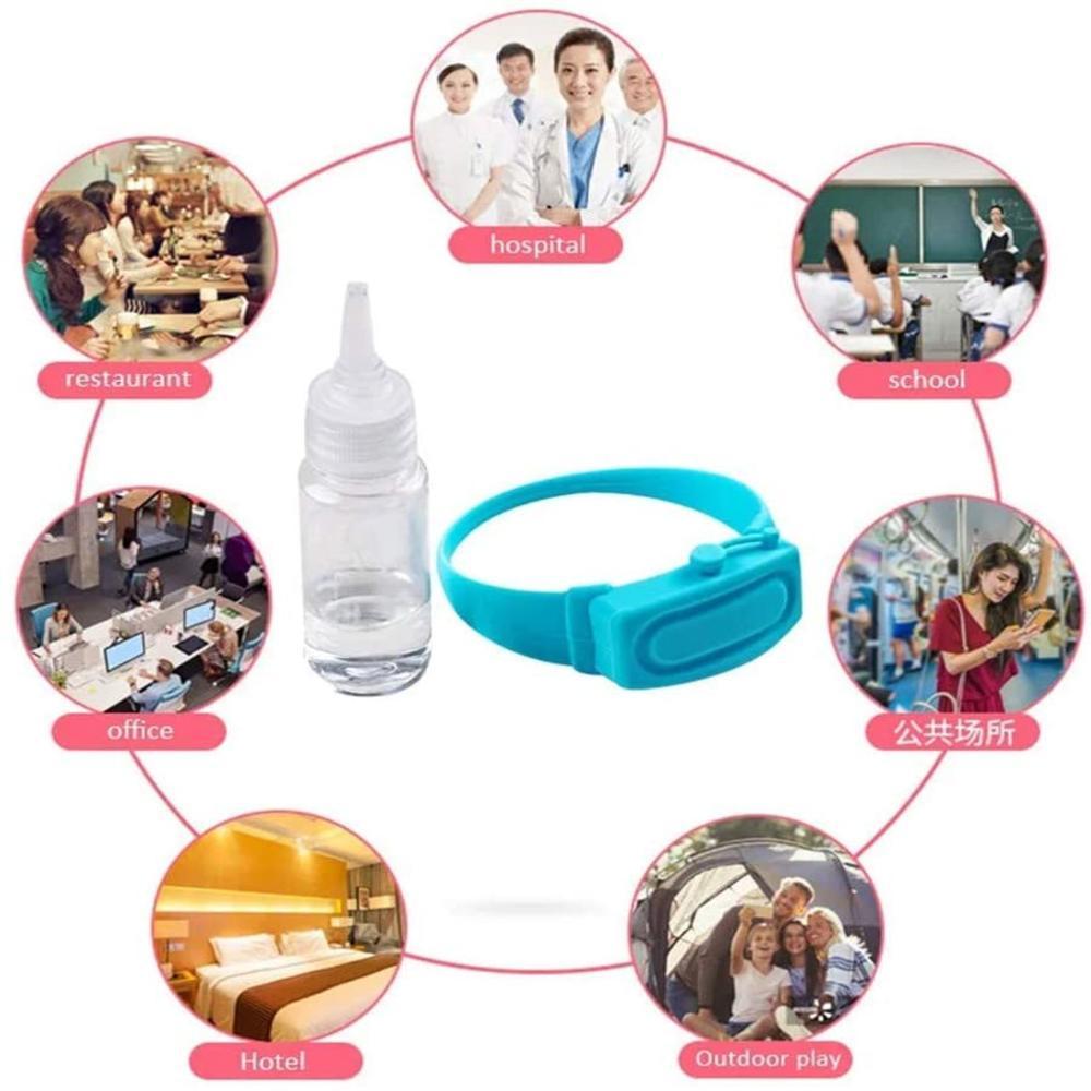 1 Pcs Hand Sanitizer Disinfectant Sub-packing Silicone Bracelet Wristband Hand Dispenser Wearable Hand Sanitizer Dispenser Pumps