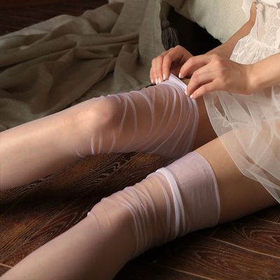 5D Summer Women Retro Long Socks Sexy Lingerie Lady Thigh High Stockings No Elasticity Hosiery Nylon Over Knee Socks Kawaii