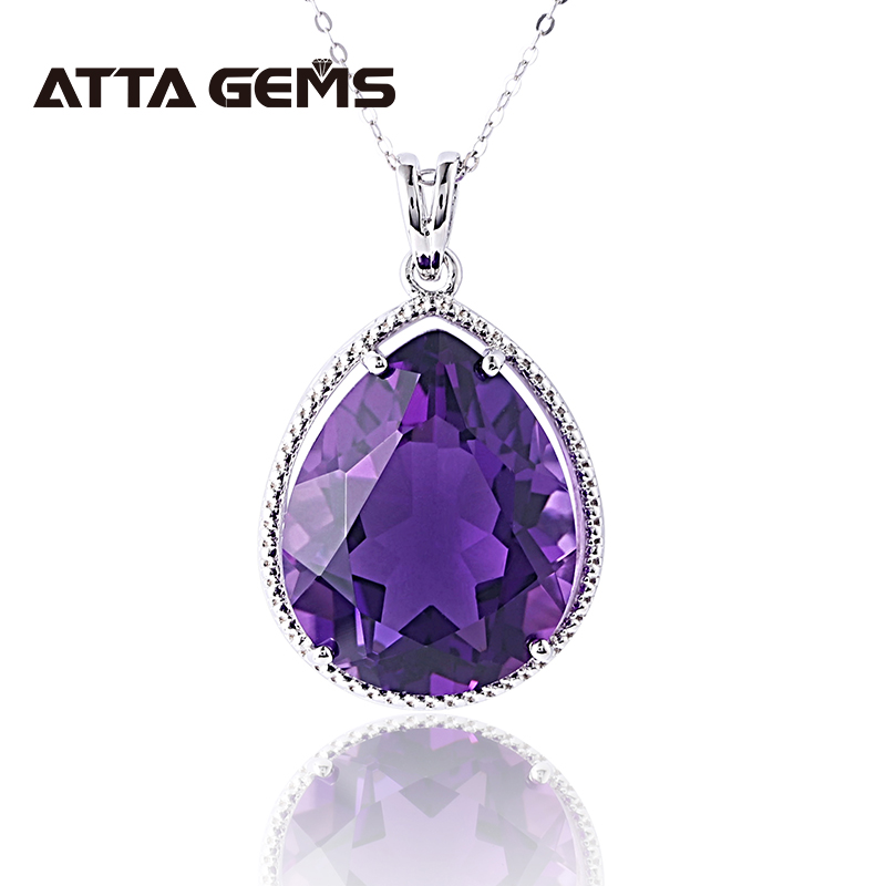 Purple Amethyst 925 Sterling Silver Pendant For Women 7 Carats Created Amethyst Fine Jewelry For Christmas Gift Birthday Gifts
