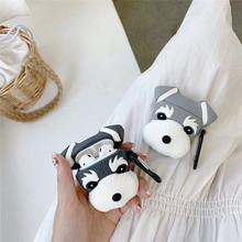 For AirPod 2 Case 3D Cute Grey Dog Cartoon Soft Silicone Wireless Earphone Cases Apple Airpods Cover Funda