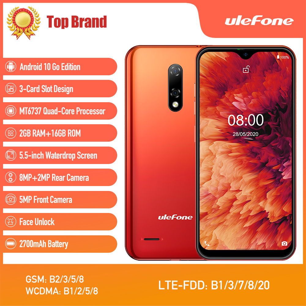 Ulefone Mt6737 Note-8p Smartphone Android 16GB 2GB LTE/GSM/WCDMA 5g wi-Fi Quad Core Face Recognition