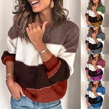 Pull femme nouveaute осенний и зимний свитер женский круглый вырез Удобный свободный свитер Джерси