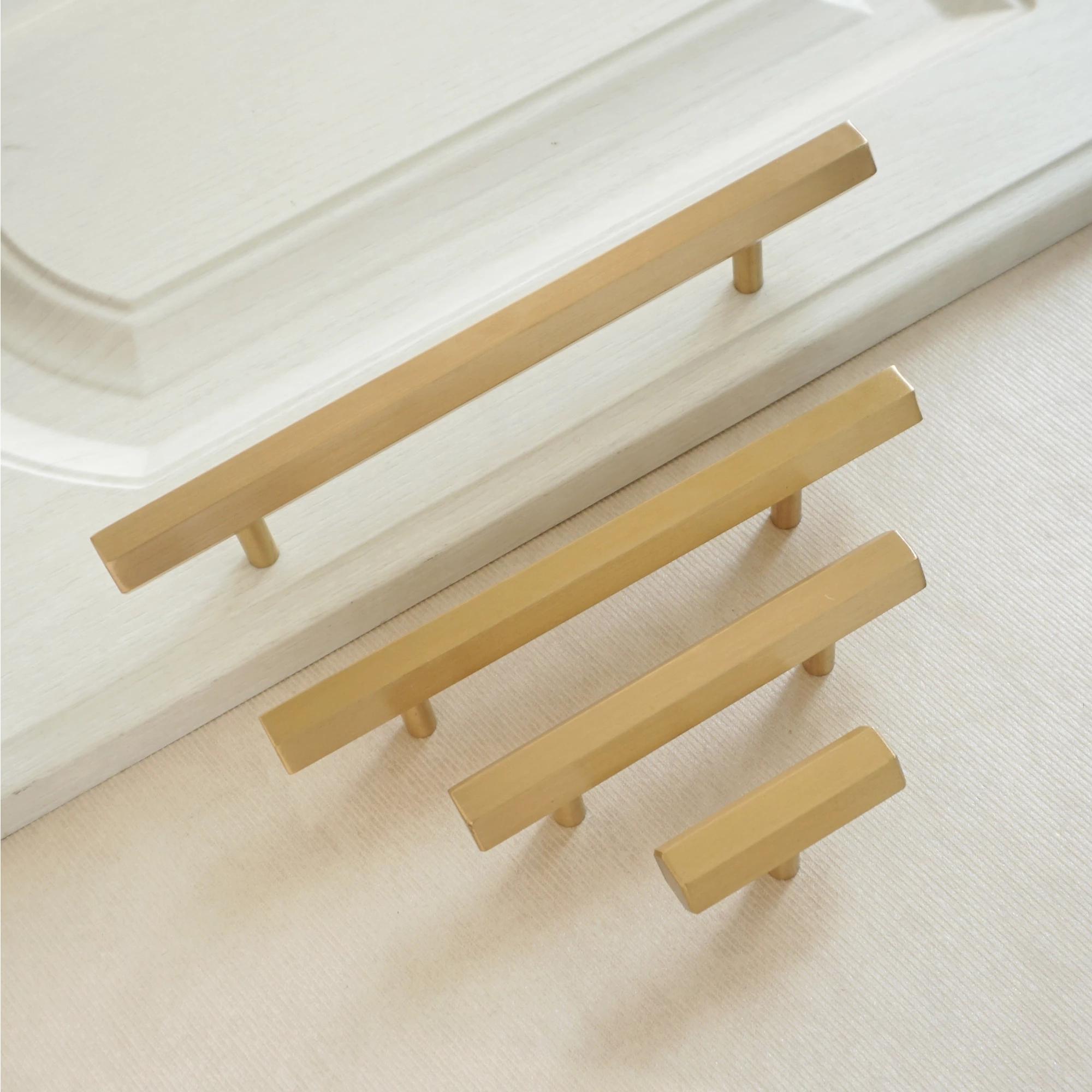 2.5\'\' 3.75\'\' 5\'\' Brushed Brass Handles Knob Hexagon Pull Knob Kitchen Cabinet Handle Drawer Knob Pull Handles Modern Style