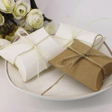 10PCS Wedding Creative Candy Box Gift Pillow With Hemp Rope Chocolate Biscuit Packaging