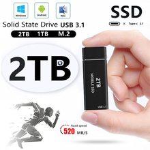 Alta velocidade ssd disco rígido externo ssd 2tb 1tb 500g TYPE-C unidades de estado sólido externo móvel para laptops desktop