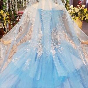 Image 3 - HTL842 robes de mariée musulmanes bleues avec voile de mariée col rond à manches longues robe de mariée verte robe de couleur dentelle robe de noiva azul
