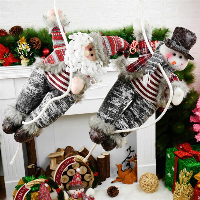 Décoration de noël pendaison arbre de noël porte murale pendentif ornement père noël bonhomme de neige jouets père noël poupées Navidad