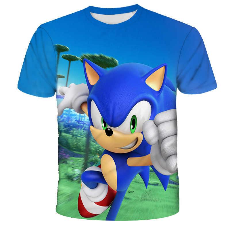 Custom Sonic Game Kids T-shirt Cartoon All-Over Print Short Sleeve Funny Tee