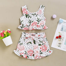 Toddler Infant Baby Girls 2Pcs Flower Printed Tops Sleeveless T-Shirt Pants Shorts Clothes Set baby child girls kids clothing bow knot flower sleeveless vest t shirt tops ves shorts pants outfit girl clothes set 2pcs infant page 4 page 5