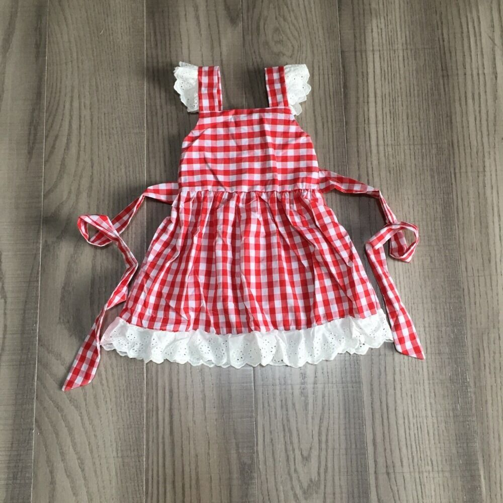 Baby Girls Summer Dress Girl Red Plaid Dress With Lace Hem