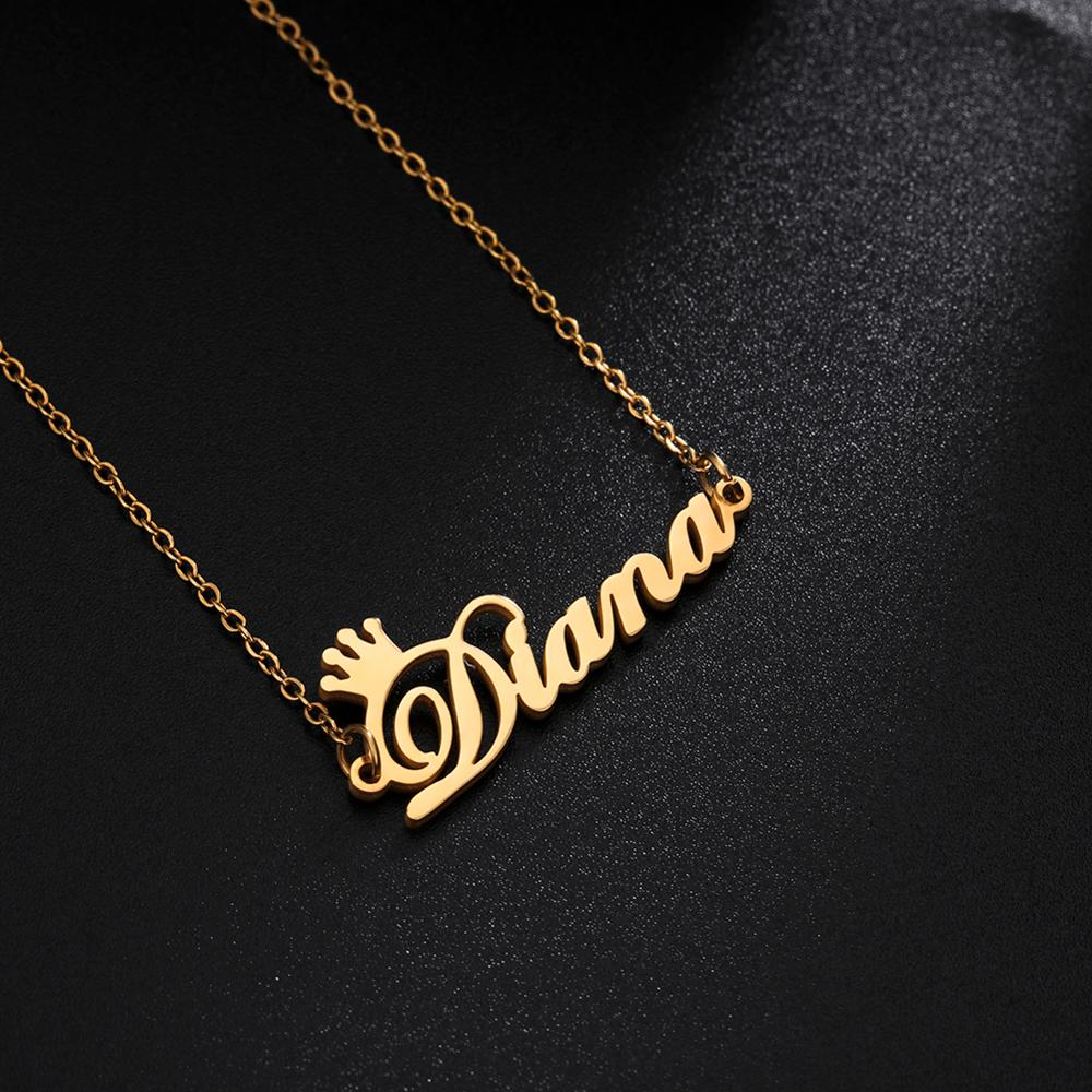 Customized Letter Name Necklace Stainless Steel Custom Personalized Nameplate Pendant Choker Necklaces Jewelry for Women Girls 1