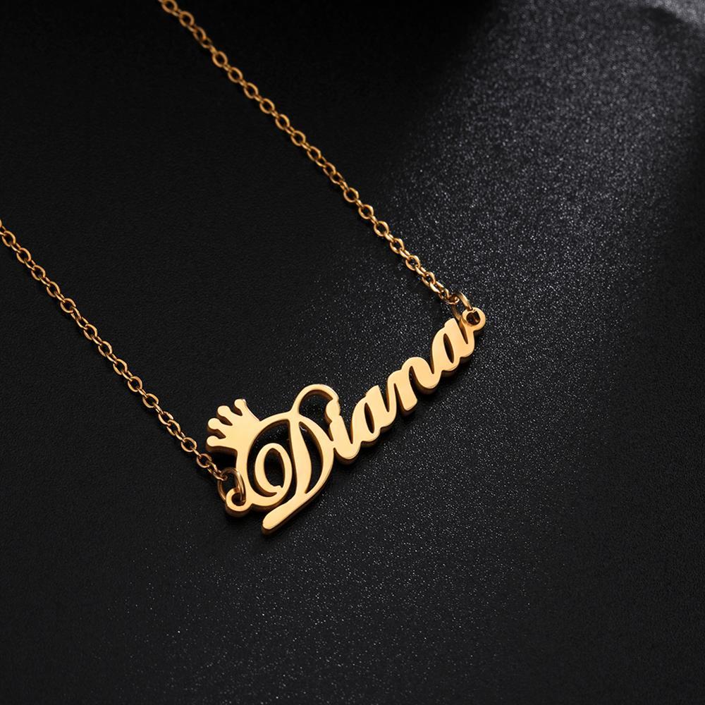 Заказное ожерелье с буквенным именем из нержавеющей стали индивидуальный кулон-табличка с именем колье ювелирные изделия для женщин и деву...