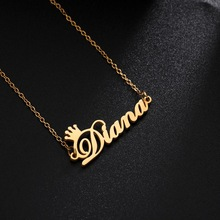 Jewelry Necklace Pendant Choker Nameplate Customized Stainless-Steel Girls Women Letter