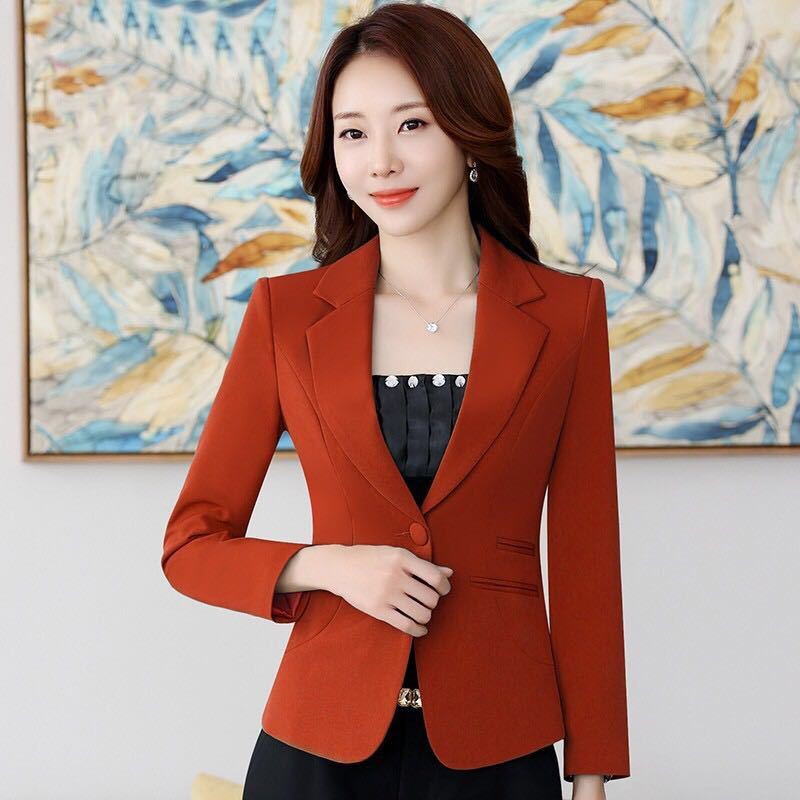 2020 Beautiful Fashion New Spring Buckle Long Sleeve Casual Loose Coat Short Slim Womens Tops Suit Coat Jacke Women Work Blazer