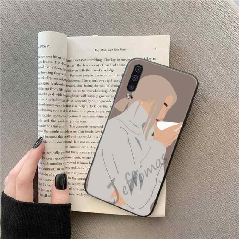 Wanita Seksi Kopi DIY Dicat Bling Phone Case untuk Samsung A20 A30 30 S A40 A7 2018 J2 J7 Perdana j4 Plus S5 Catatan 9 10 Plus