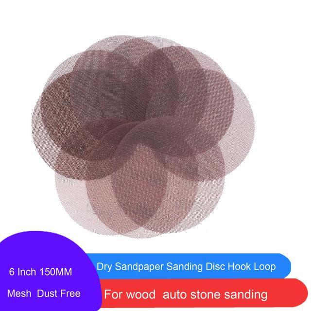 30 Pcs 6 Inch 150MM Mesh Sanding Discs Hook & Loop Abrasive Dust Free  Anti-Blocking Sharp Grinding Sandpaper for Car Wood Stone