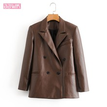 Brown PU Black Motorcycle Lapel Long Sleeve Windproof Chic Female Jacket Fashionable Double-breasted Professional Women's Coat(China)