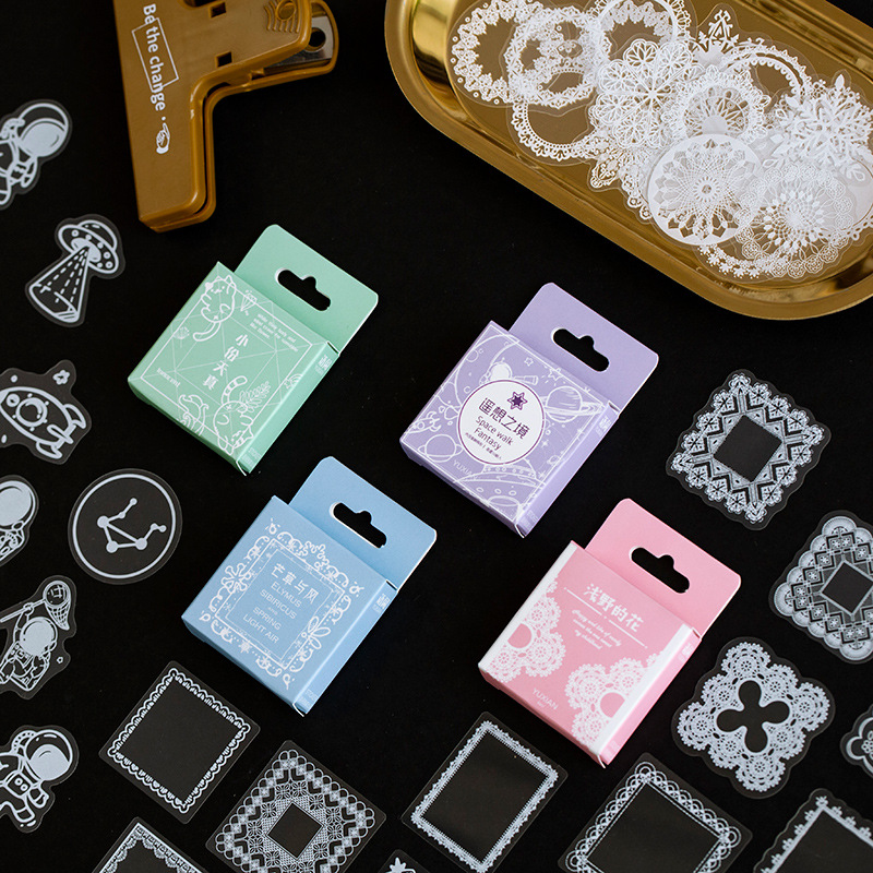 50pcs/pack Kawaii Stationery Sticker Set Vintage Lace Flowers Cute Girl Diy Decorative Stickers For Art Craft Scrapbooking Album