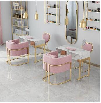 Oświetlenie w stylu nordyckim luksusowy marmurowy stół do manicure i zestaw krzeseł high end netto czerwony stół do manicure pojedynczy i podwójny stół do manicure tanie i dobre opinie Metal Salon mebli Stół paznokci Meble sklepowe