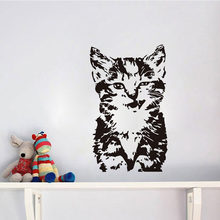 HDJWU negro gato sonriente pegatinas de pared para niños habitación pared decoración vinilo papel tapiz pared arte Mural HD017(China)