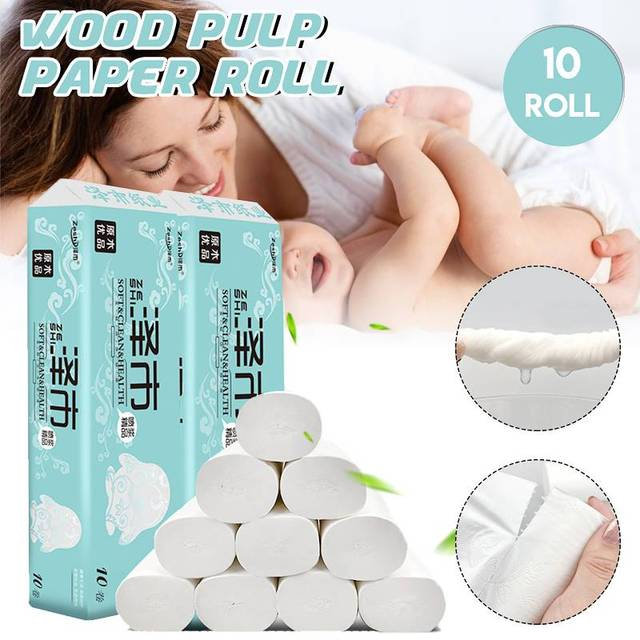 10 Packs/Bag Home Bath Paper Bath Toilet Roll Paper Toilet Paper White 4Ply Cleaning Paper Towels Tissue Sanitary Paper Health