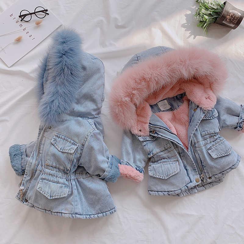 2019 Winter Baby Mädchen Denim Jacke Kinder Winter Jacke Plus Verdickung Samt Warme Mit Kapuze Baumwolle Windbreaker Parka Denim Mit Pelz
