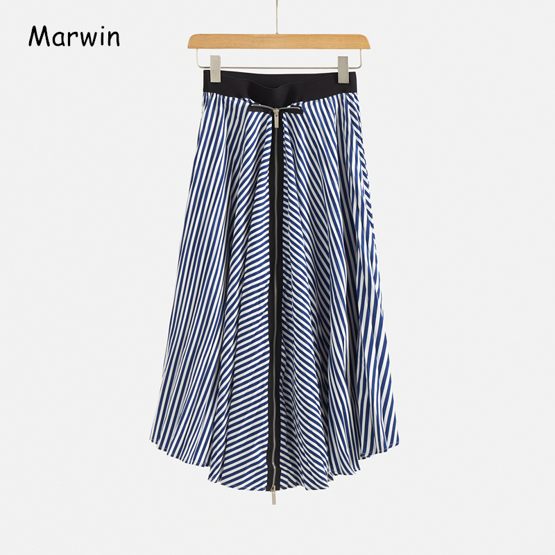 Marwin 2020 New-Coming Spring A-line Empire Striped Print Irregular Zipper High Street Style Women Skirts Mid-calf Length